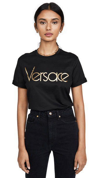 Versace Logo T-Shirt in black / gold