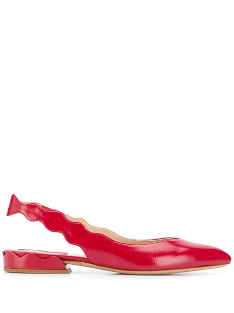 Chloé scalloped slingback ballerina shoes in red