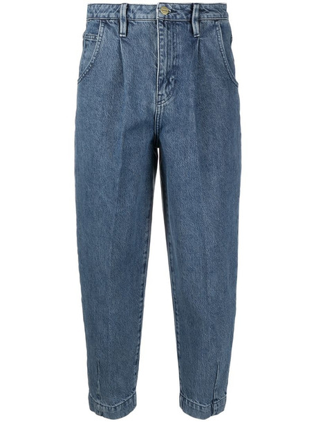 FRAME pleated barrel jeans in blue