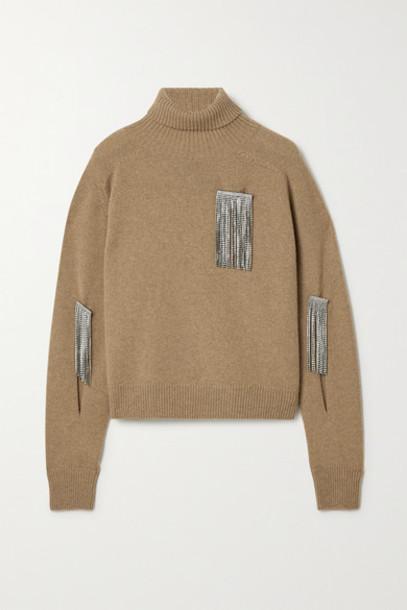 Christopher Kane - Crystal-embellished Cutout Wool And Cashmere-blend Turtleneck Sweater - Camel
