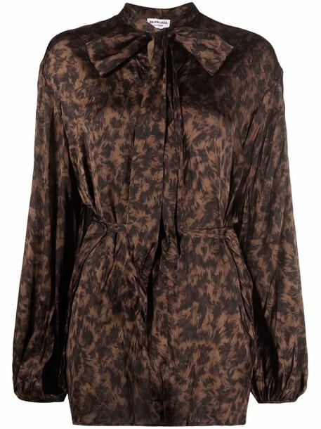 Balenciaga animal-print pussy-bow blouse - Neutrals