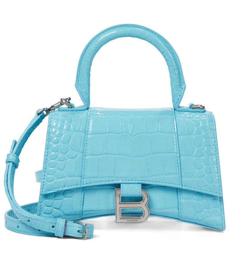 Balenciaga Hourglass XS leather tote in blue