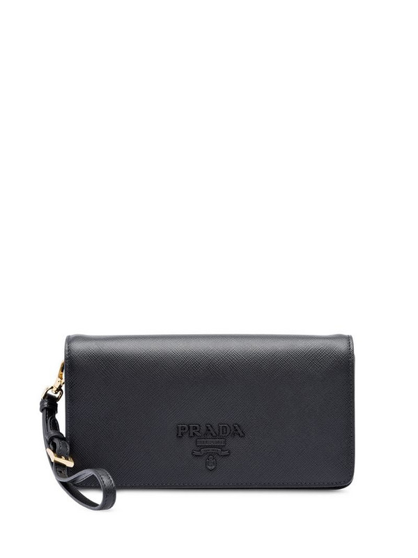 Prada Saffiano logo plaque mini bag in black