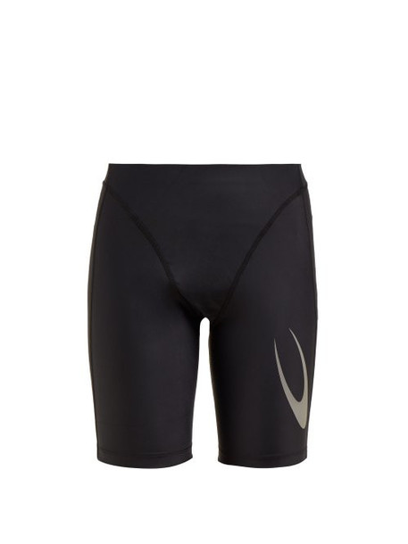 Marine Serre - Logo Printed Cycling Shorts - Womens - Black
