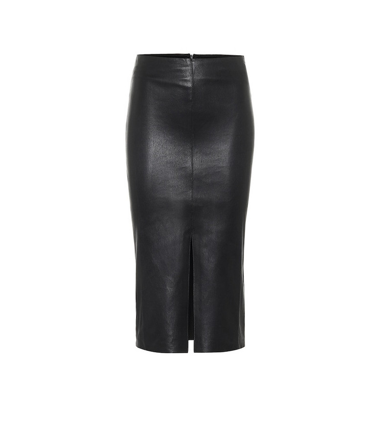 Stouls Ocean Drive leather midi skirt in black
