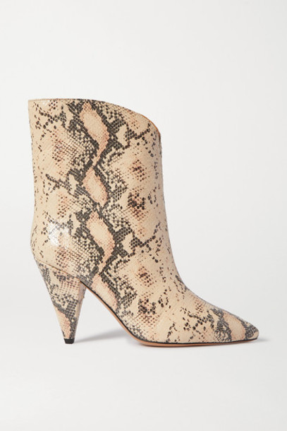 Isabel Marant - Leinee Snake-effect Leather Ankle Boots - Snake print