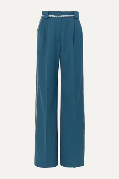 Fendi - Topstitched Wool-drill Wide-leg Pants - Teal
