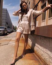 shorts,High waisted shorts,blazer,sandal heels,white top,sunglasses,earrings