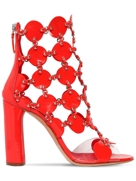 CASADEI 100mm Rainplack Leather Sandals in red