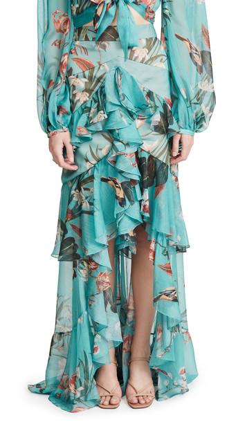 PatBO Carolina High-Low Skirt in blue