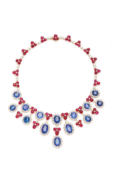 Eleuteri Vintage 18K Yellow Gold Bulgari Ruby and Sapphire Necklace in multi