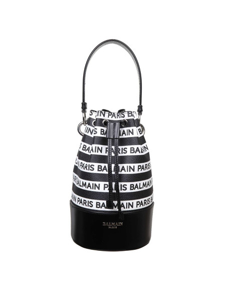 Balmain Polygon Small Bucket Bag In White / Black Leather