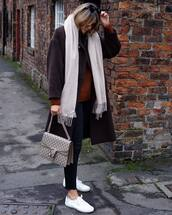 scarf,white sneakers,gucci bag,black skinny jeans,sweater,brown coat,knitted sweater