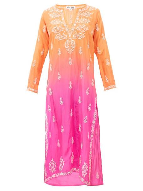 Juliet Dunn - Ombré Sequin Embroidered Silk Kaftan - Womens - Orange Multi