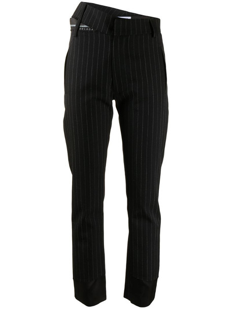 Delada asymmetric pinstripe trousers in black