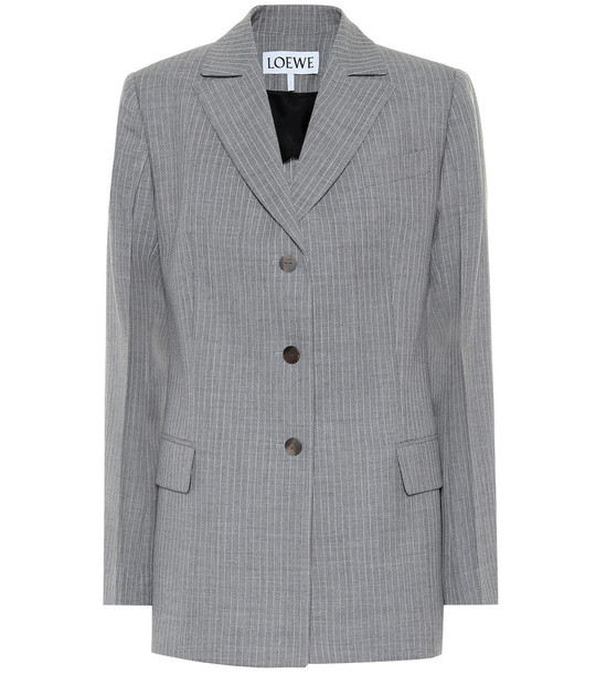 Loewe Striped wool blazer in grey