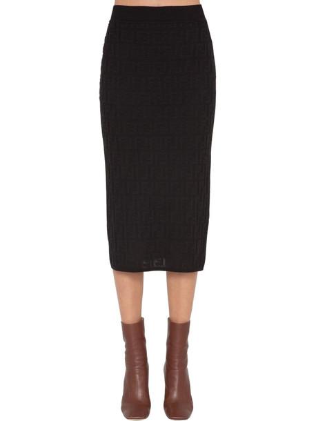 FENDI Logo Intarsia Knit Pencil Skirt in black