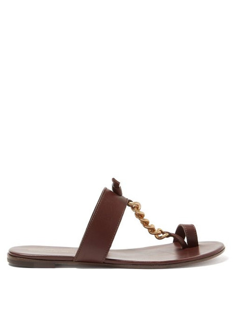 Gianvito Rossi - Chain Strap Leather Slides - Womens - Brown Gold