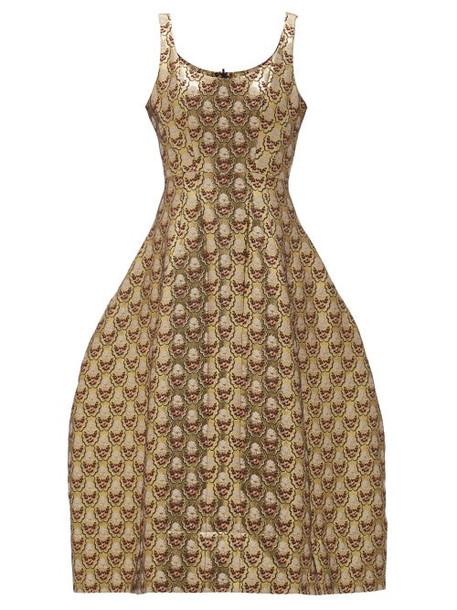 Simone Rocha - Scoop-neck Floral-brocade Dress - Womens - Gold