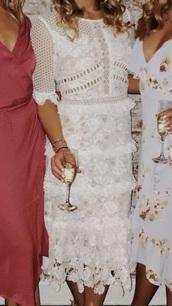 dress,white,midi dress,white dress,crochet,lace dress
