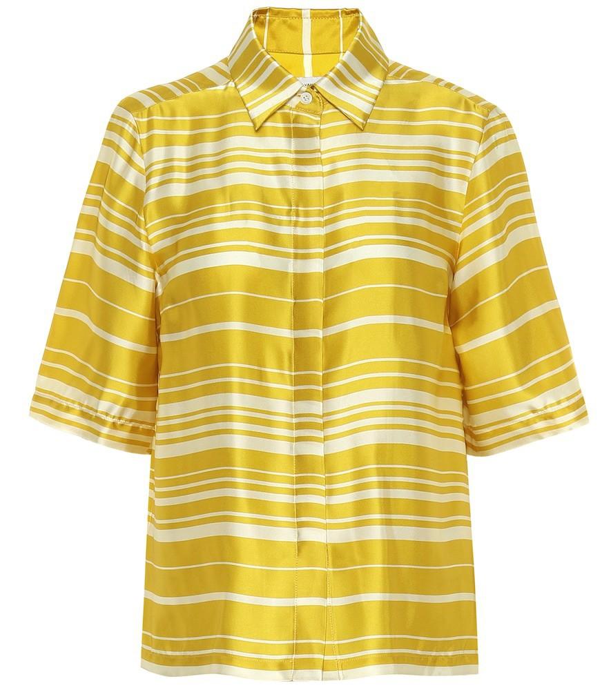 Dries Van Noten Striped satin shirt in yellow