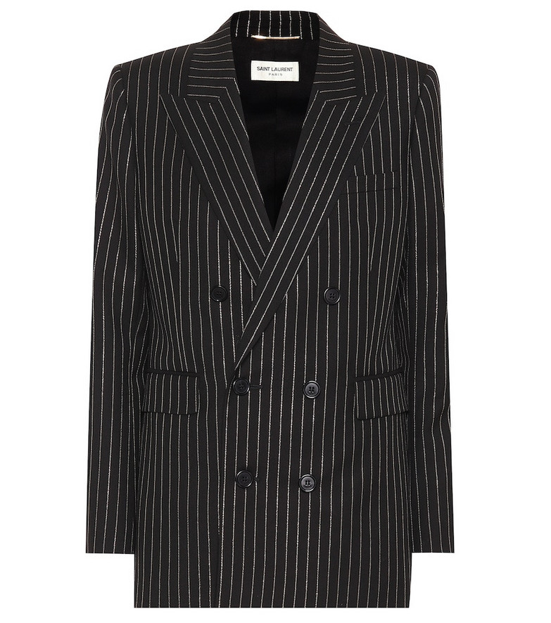 Saint Laurent Striped wool blazer in black