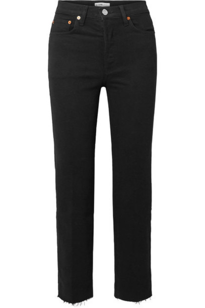RE/DONE - Stove Pipe Comfort Stretch Cropped High-rise Straight-leg Jeans - Black