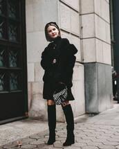jacket,faux fur jacket,black dress,knee high boots,dior bag,mini dress