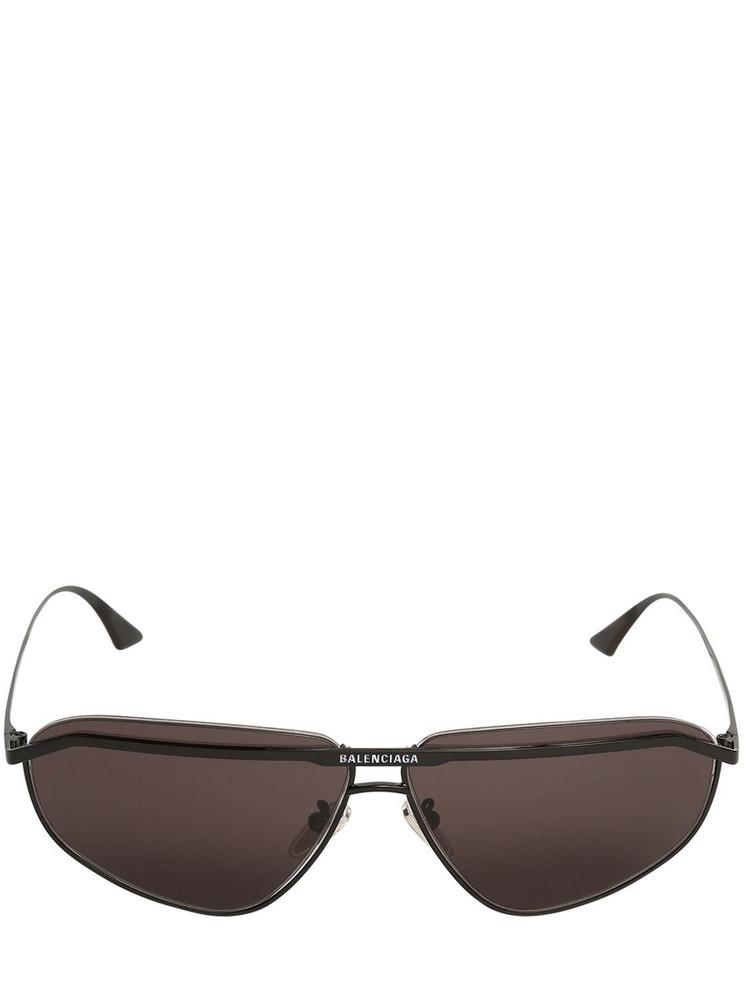BALENCIAGA 0081s Bridge Squared Metal Sunglasses in black / grey