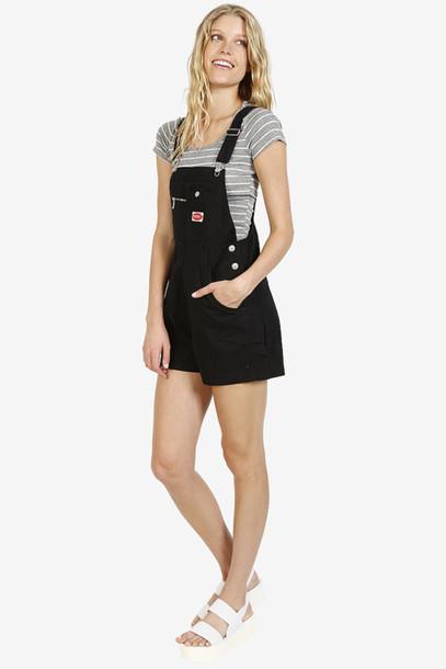 romper overalls black