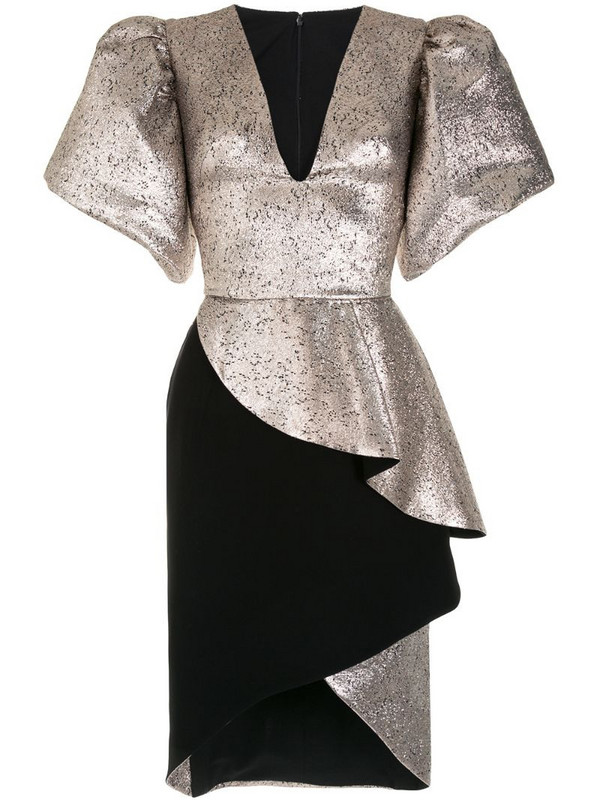 Saiid Kobeisy V-neck structured sleeve dress in gold