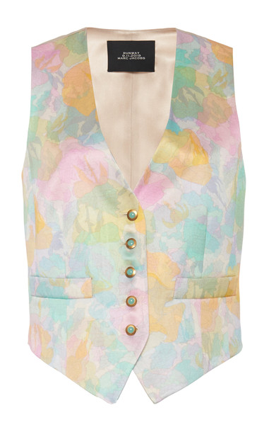 Marc Jacobs Printed Silk-Cotton Shrunken Vest Size: XS in multi
