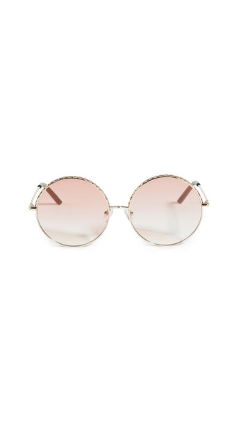 Linda Farrow Luxe Linda Farrow Geranium Round Sunglasses in chocolate / gold / orange