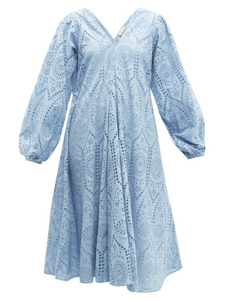 Ganni - Balloon Sleeved Broderie Anglaise Cotton Dress - Womens - Light Blue