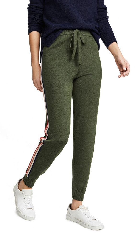Etre Cecile Stripe Knit Track Pants in khaki