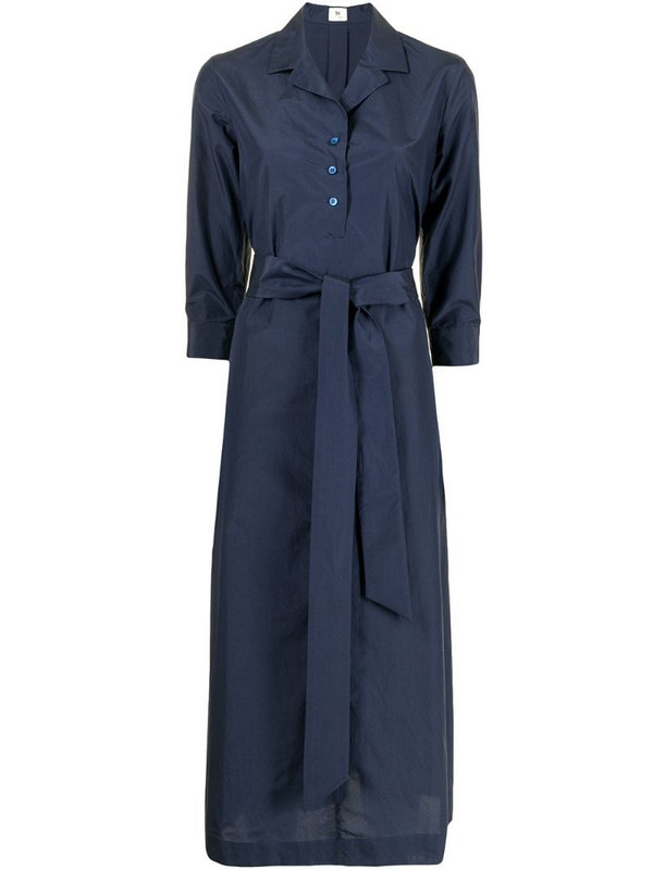 Colombo belted midi shirt dress in blue