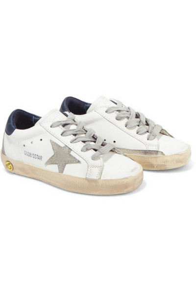 Golden Goose Deluxe Brand Kids - Sizes 19 - 27 Superstar Distressed Leather And Suede Sneakers in white