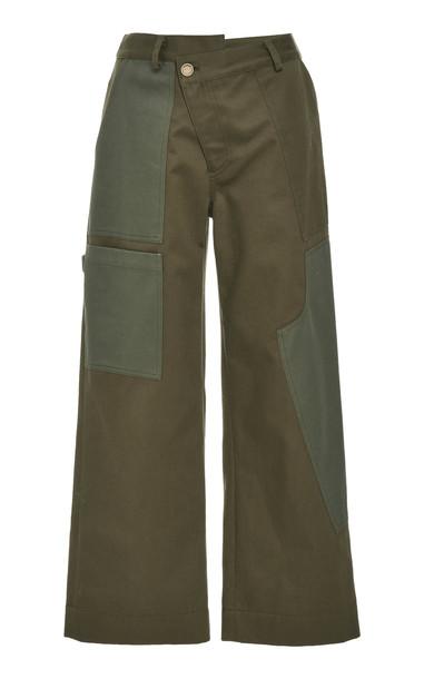 MONSE Wide Leg Cargo Pant Size: 4 in green