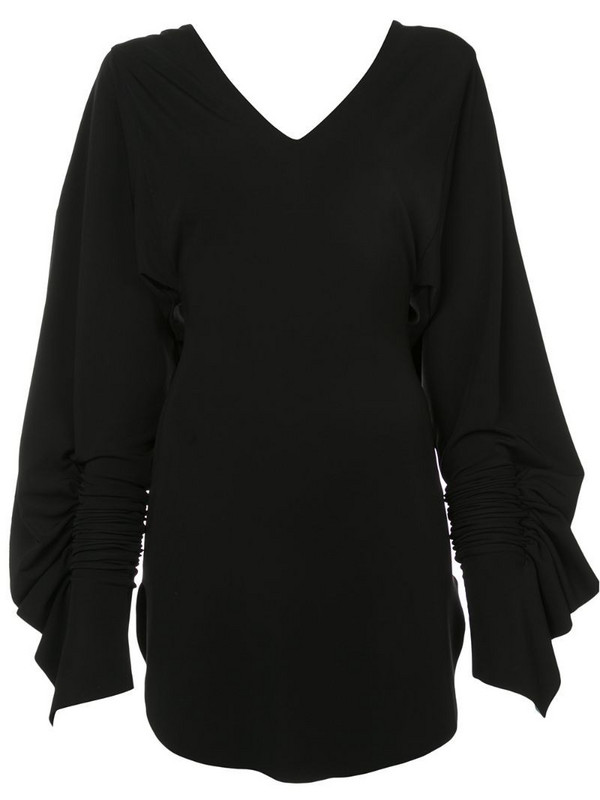 Paula Knorr V-neck flared dress in black