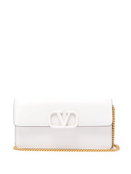Valentino - V Sling Small Chain Strap Leather Clutch - Womens - White
