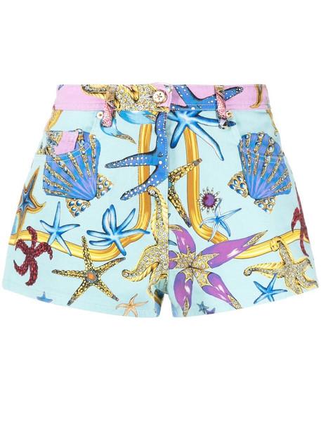 Versace starfish-print denim shorts - Blue