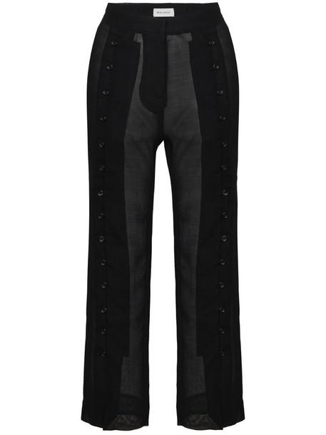 Beau Souci sheer virgin wool blend cropped trousers in black