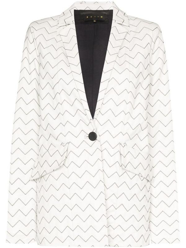 Skiim Magda zigzag stitch blazer in white