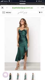 dress,green,satin