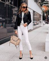 jeans,white jeans,flare jeans,cropped jeans,high waisted jeans,pumps,shoulder bag,black leather jacket,white sweater