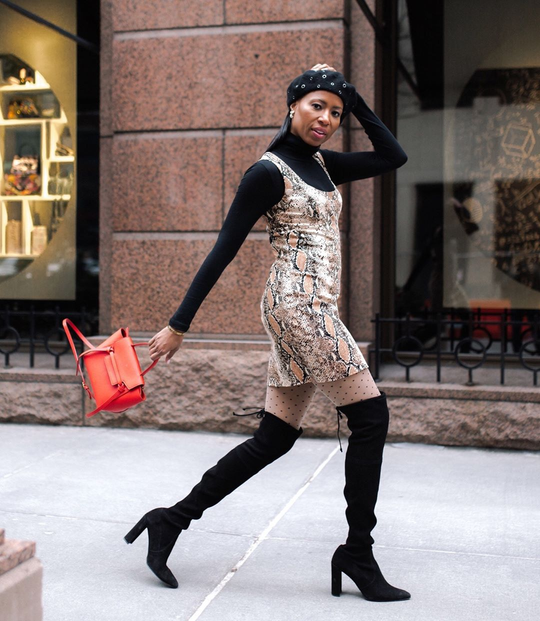 dress mini dress snake print black boots over the knee boots heel boots tights black turtleneck top bag beret
