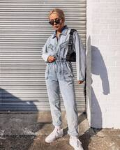 jumpsuit,denim,white sneakers,socks,belt bag