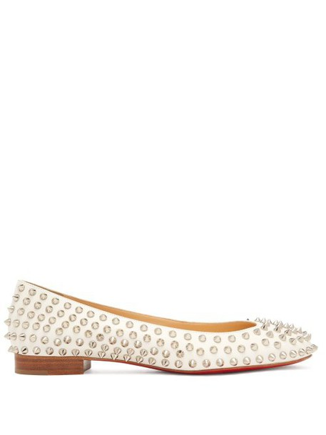 Christian Louboutin - Babaspikes Leather Ballet Pumps - Womens - White Silver