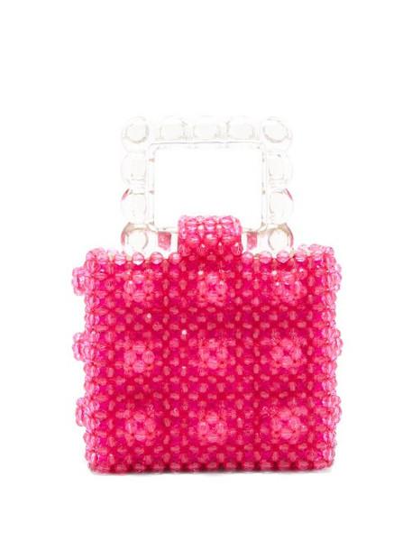 Shrimps - Maud Squared Top-handle Beaded Handbag - Womens - Pink