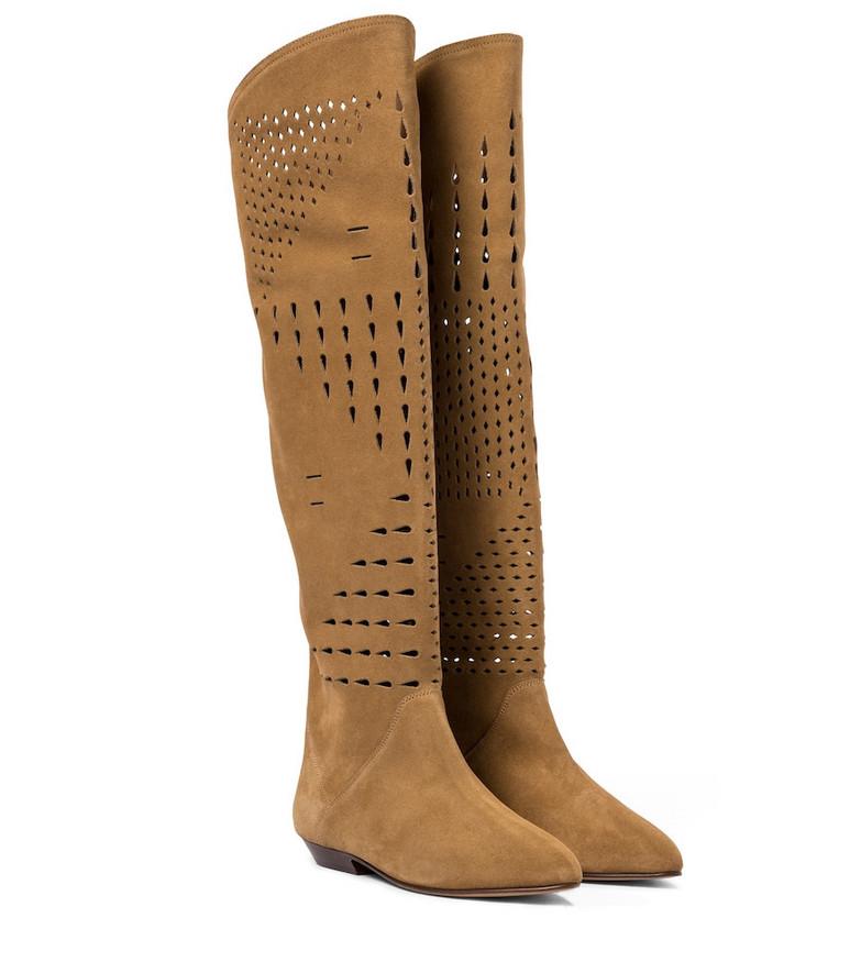 Isabel Marant Soren suede knee-high boots in brown